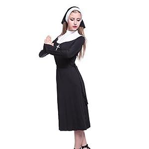 Robe Bonne soeur religieuse déguisement COSTUME TENUE femme halloween adult Nonne sister S M L adult croix