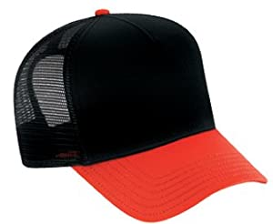 Mesh Blank Trucker Hat/Cap-Baseball-Red/Black/Black