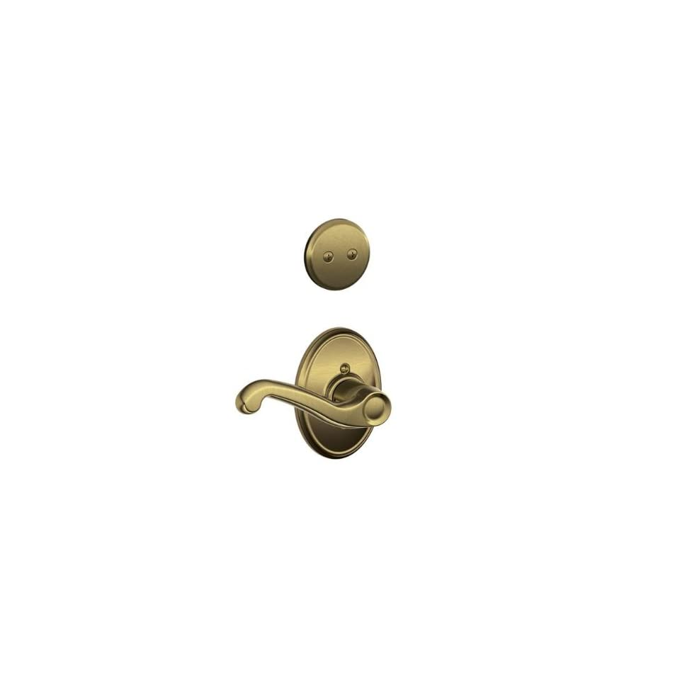 Schalge F94FLA609WKFLH Antique Brass Interior Pack Flair Lever Left Handed Dummy Interior Pack with Deadbolt Cover Plate and Decorative Wakefield Rose