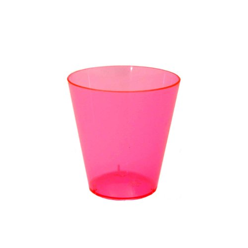 Party Essentials Hard Plastic 2-Ounce Shot/Shooter Glasses, Neon Pink, 50 Count