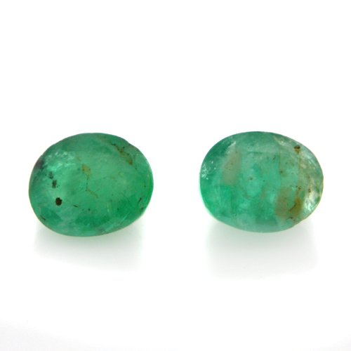 Natural Zambia Green Emerald Loose Gemstone Oval Cut 5*4mm 0.95cts 2 Pieces