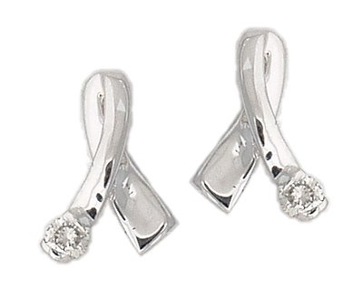 14K White Gold Diamond Ribbon Twist Earrings