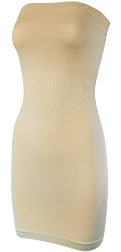 KMystic Seamless Strapless Tube Slip Dress (Beige)