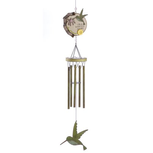 Gifts & Decor Country Style Hummingbird Outdoor Wood Metal Wind ...