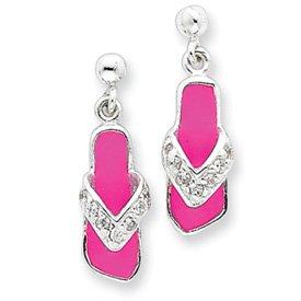 Sterling Silver Pink Enameled & CZ Flip Flop Post Earrings