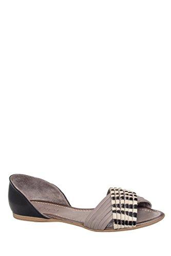 Ebru Peep Toe Flat Sandal