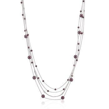 Stunning Four Strand White Gold Rhodium Bonded Necklace with Purple Accents in a Silvertone