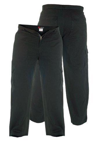 Duke Herren Jeans Comfort Straight Fit Extra Hoch Schrittlänge 35 36 37 38 - Herren, Fracht - Schwarz, 40W x 38L