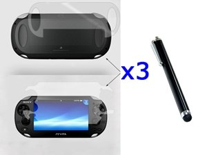Bluecell 3 SET Front & back Crystal Clear Screen Protector LCD + Black Stylus/Styli Universal Touch Screen Pen for Sony PS Vita [video game]
