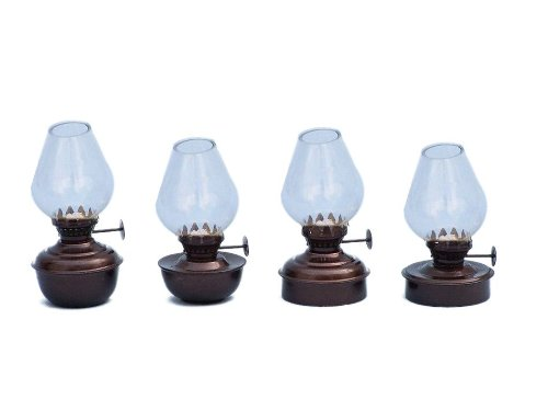 """Handcrafted Nautical Decor Antique Copper Table Oil Lamp, 5"""", Set Of 4, Copper"""