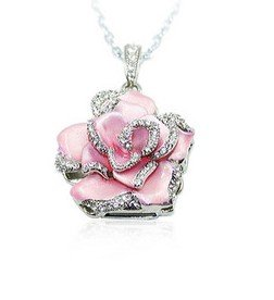 Light Pink Crystal Rose Necklace 8GB USB Flash Drive
