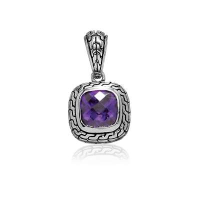 Elegant Fashion Necklace Pendant Jewelry Sterling Silver Plated Charm Amethyst CZ & Black Finish Design(WoW !With Purchase Over $50 Receive A Marcrame Bracelet Free)