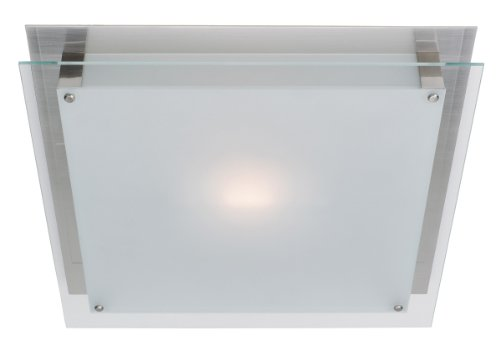 Access Lighting 50033Led-Bs/Fst Vision Led Light 12-Inch Width Flush Mount With Frosted Glass Shade, Brushed Steel Finish