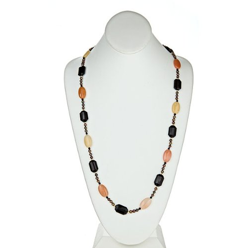Amber Jade Oval, Faceted Black Onyx and Fresh Water Pearl Brown with 14k Gold Necklace 34