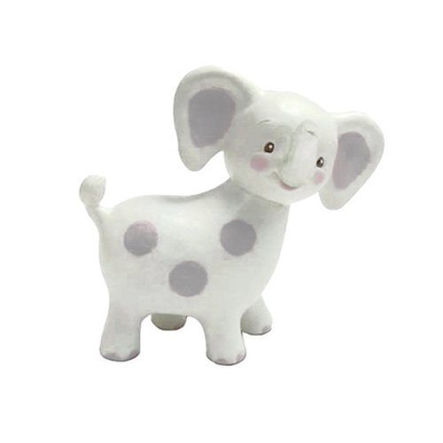 Bunnies By The Bay Peanut Elephant Teether, White with Gray Polka Dots