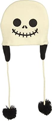 Cream and Black Skull Kids Pom Pom Hat from Sourpuss Clothing