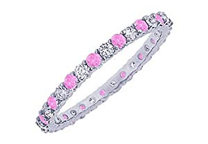 Pink Sapphire and Diamond Eternity Bangle : Platinum - 10.00 CT TGW