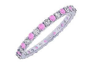 Pink Sapphire and Diamond Eternity Bangle : Platinum - 10.00 CT TGW