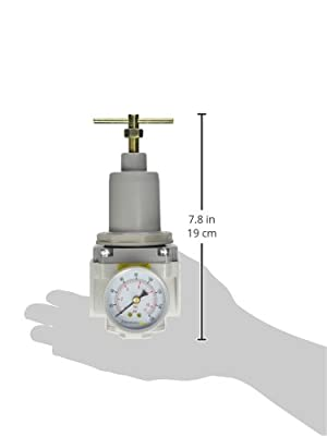 "PneumaticPlus SAR4000T-N06BG Air Pressure Regulator, T-Handle, 3/4"" NPT with Gauge and Bracket"