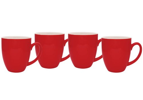 Culver 14-Ounce Bistro Ceramic Mug, Set of 4 Red (Coffee Cup Set Red compare prices)