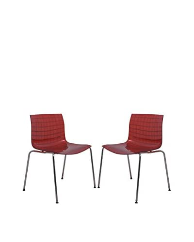 LeisureMod Set of 2 Ashville Side Chairs with Chromed Legs