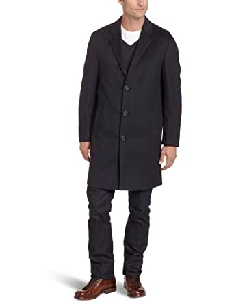 Kenneth Cole Men's Moretti Topcoat, Navy, 38 Small