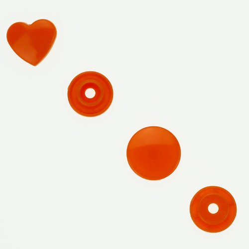 100 Glossy Orange (B55) Heart Shaped Kam Plastic Resin Snaps Craft Baby Bib Cloth Diaper