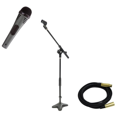 Pyle Mic And Stand Package - Pdmik2 Professional Moving Coil Dynamic Handheld Microphone - Pmks7 Compact Base Microphone Stand - Ppmcl15 15Ft. Symmetric Microphone Cable Xlr Female To Xlr Male