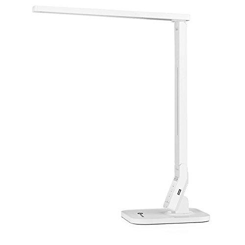 TaoTronics-14W-Schreibtischlampe-LED-Tischlampe-4-Modi-dimmbar-mit-eingebautem-USB-Anschluss-zum-Aufladen-von-Smartphones-wei