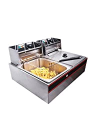 5000W 12 Liter Electric Countertop Deep Fryer Dual Tank 6 Commercial Restaurant by