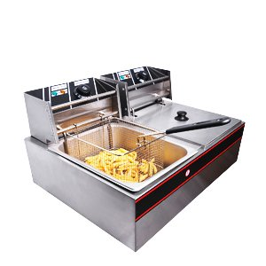 Commercial Stainless Steel Electric Countertop Deep Fryer With Dual Baskets