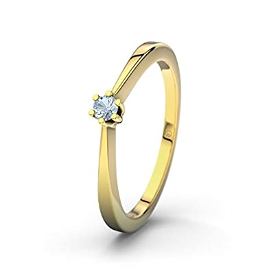 Seattle 21DIAMONDS Women's Ring Blue Topaz Brilliant Cut Engagement Ring, 18 K Yellow Gold Engagement Ring
