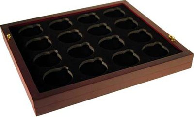 Coin-Tray-for-16-Air-Tite-H-Capsules-fits-in-Mahogany-Wood-Coin-Display-Case