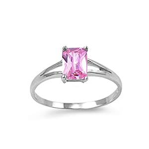 Sterling Silver Princess Cut Pink CZ Ring - size9