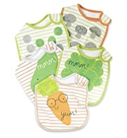 5 Pack Pure Cotton Vegetable Print Bibs
