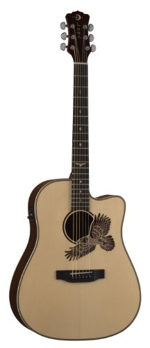Luna Am E100 Americana Cutaway Acoustic-Electric Guitar (Eagle Laseretch)