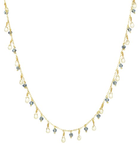 Gold Plated Sterling Silver White Freshwater Cultured Rice Pearl and Light Sapphire Color Crystallized Swarovski Elements Bicone Drops Necklace, 18