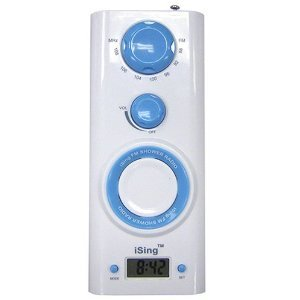 Zadro Ising Fm Shower Radio With Digital Clock, Blue front-626187