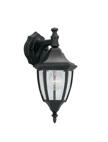 Designers Fountain 2461-BK Builder Cast Aluminum Collection 1-Light Exterior Wall Lantern, Black Finish with Clear Beveled Glass
