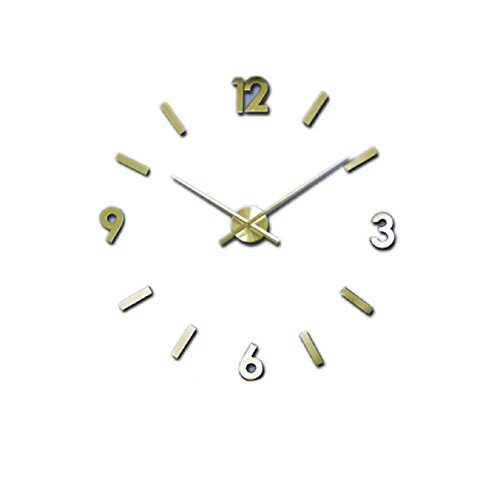 Suppion Fashion 3D Luxury Diy Large Wall Clock Mirror Surface Sticker Home Office Decor (Golden)