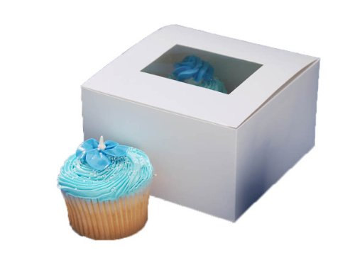 Darice 1404-282, Pastry Box with Window, 4-Piece package 6-Inch-by-6-Inch-by-3-1/2-Inch