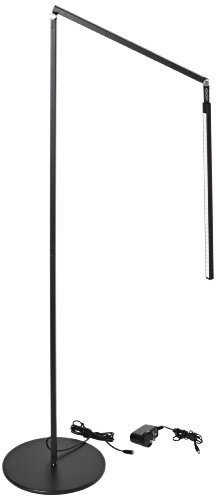 """Koncept Ar5000-C-Mbk-Flr Z-Bar Led Floor Lamp, Cool Light, Metallic Black 9.5W, 4,500 K Cool White Led Floor Lamp With A 10"""" Base Aluminum Housing For Light Weight And Resistance To Corrosion Built-In Touch Strip Dimmer And Multiple Dimming Levels For Adj"""