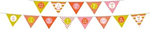 Party Partners Design Retro Sweet Soiree Themed Happy Birthday Banner Set, Pink/Orange