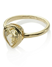 M&S Collection Gold Plated Pear Diamanté Ring
