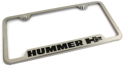 Hummer H2 Stainless Steel License Plate Frame Engraved Chrome Made in USA Frame Mirror Bright Chrome (Hummer H2 License Plate Frame compare prices)