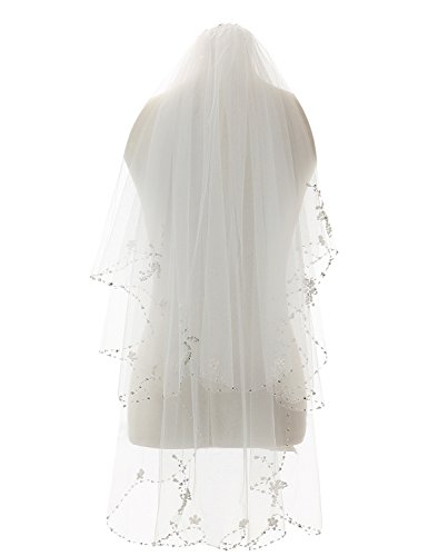 ElieHouse Women's 2 Tiers Crystal Edge Elbow Length Wedding Bridal Veil White E51WT