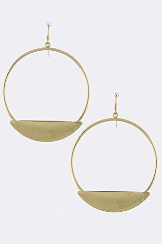 Baubles & Co Crescent Tip Hoop Drop Earrings (Matted Gold)
