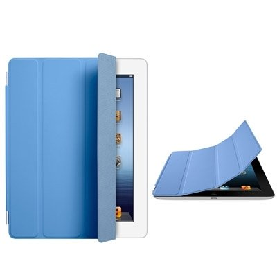 Wkae Case Cover Single Side Polyurethane Smart Cover with 3-Folding Holder for iPad mini / mini 2 Retina ( Color : Blue )