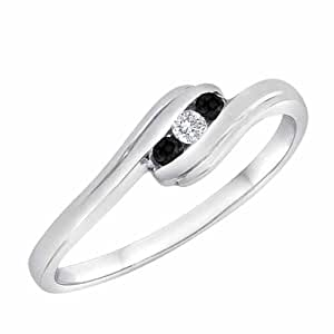 Ryan Jonathan Sterling Silver Onyx And Diamond Accented Three Stone Channel Set Engagement Ring