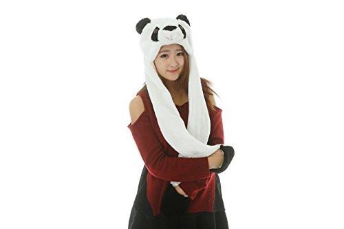 25 stili della peluche del fumetto dei cappelli animali con Sciarpe Guanti Guanti puntelli di prestazione (panda-4)